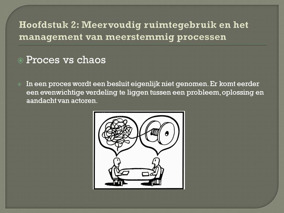  Proces vs chaos  In een proces wordt een besluit eigenlijk niet genomen.