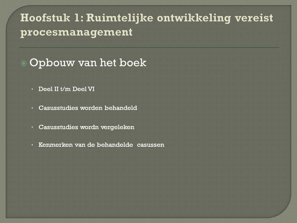  Opbouw van het boek Deel II t/m Deel VI Casusstudies worden behandeld Casusstudies wordn vergeleken Kenmerken van de behandelde casussen