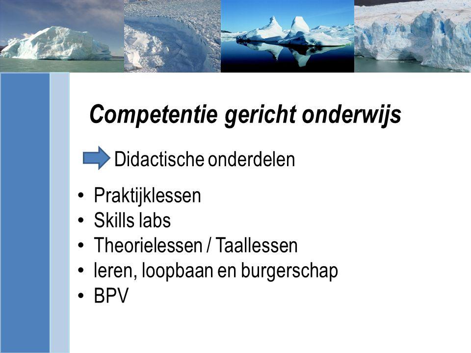 Competentie gericht onderwijs Praktijklessen Skills labs Theorielessen / Taallessen leren, loopbaan en burgerschap BPV Didactische onderdelen