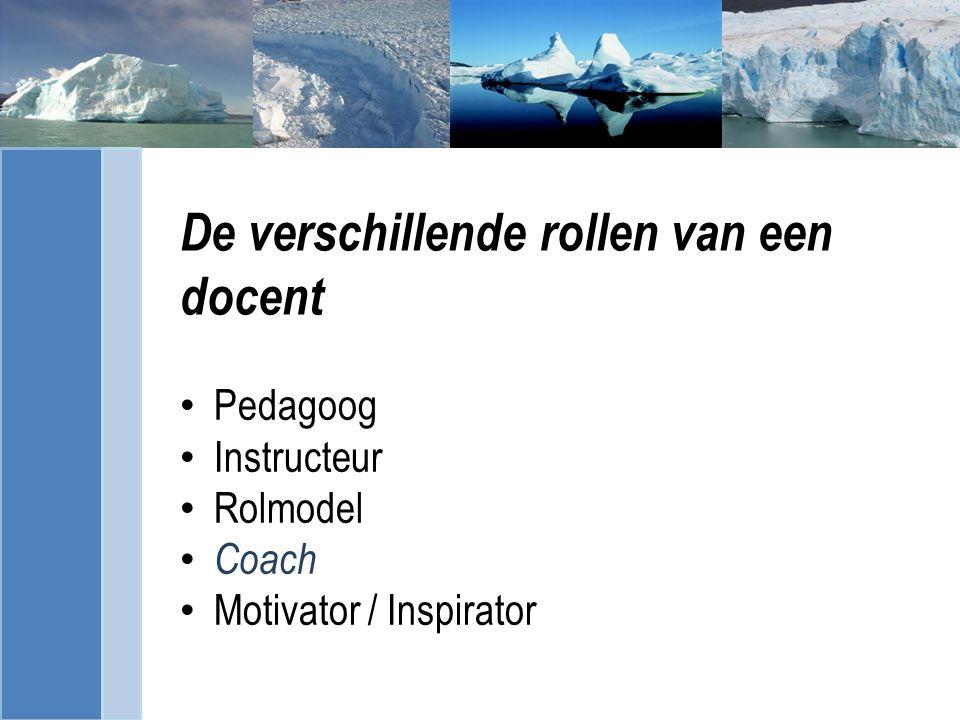 De verschillende rollen van een docent Pedagoog Instructeur Rolmodel Coach Motivator / Inspirator