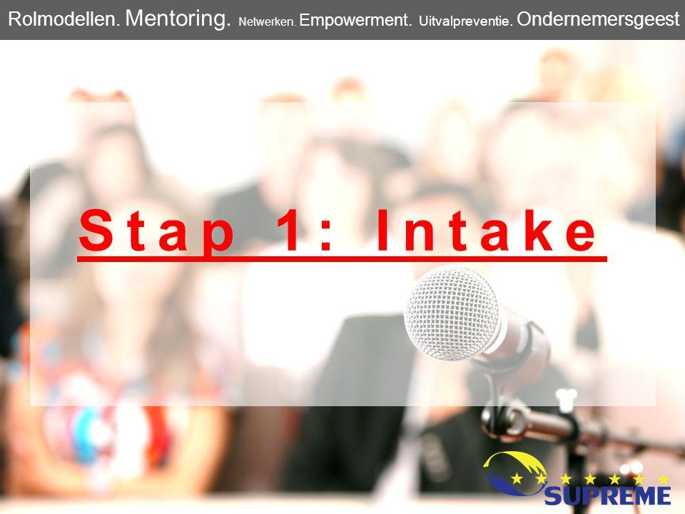 Stap 1: Intake Rolmodellen. Mentoring. Netwerken. Empowerment. Uitvalpreventie. Ondernemersgeest