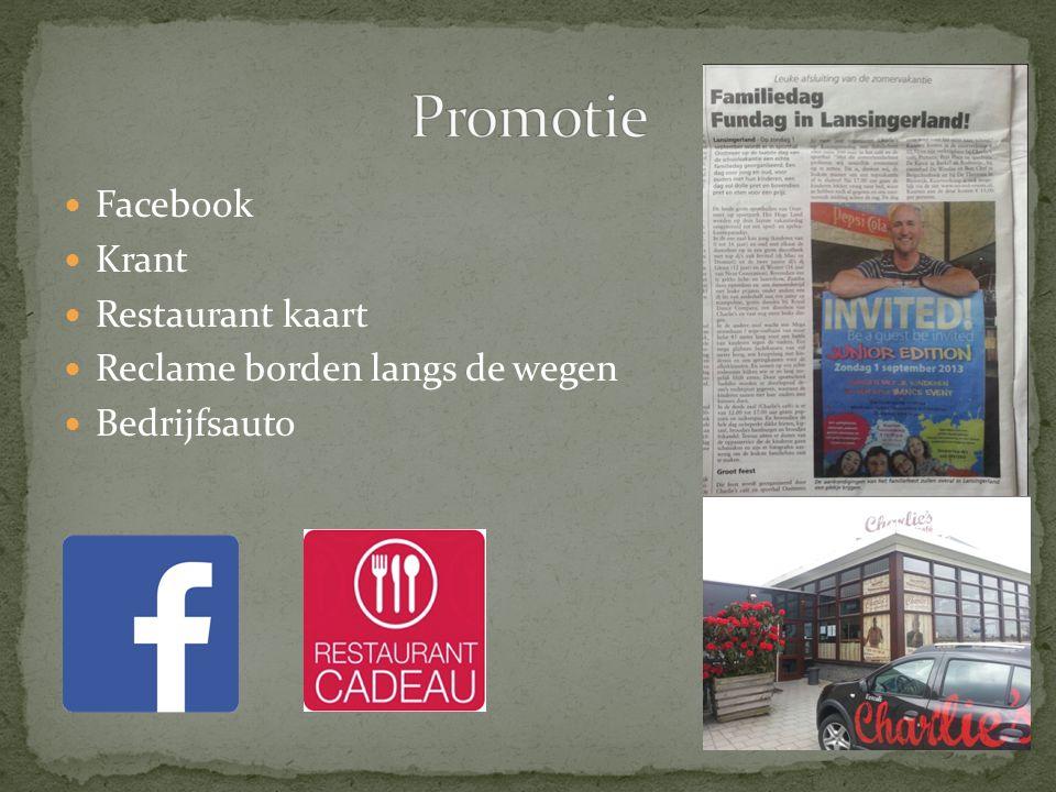 Facebook Krant Restaurant kaart Reclame borden langs de wegen Bedrijfsauto