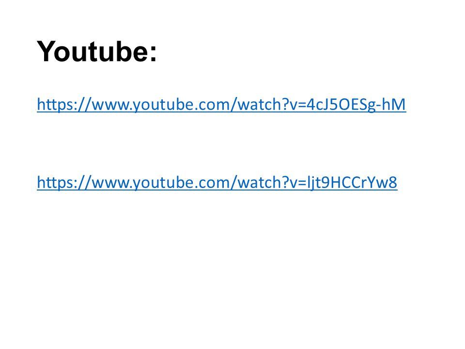 Youtube: https://www.youtube.com/watch?v=4cJ5OESg-hM https://www.youtube.com/watch?v=ljt9HCCrYw8