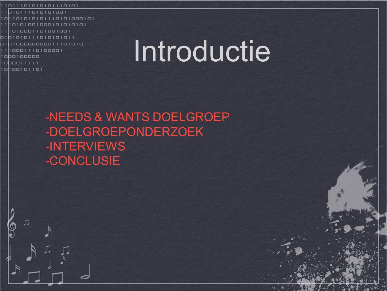 Introductie -NEEDS & WANTS DOELGROEP -DOELGROEPONDERZOEK -INTERVIEWS -CONCLUSIE