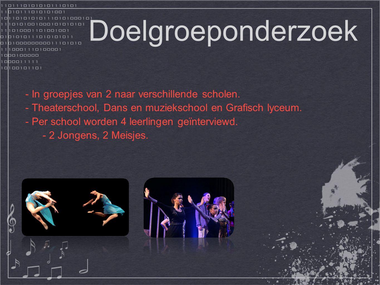 Doelgroeponderzoek - In groepjes van 2 naar verschillende scholen. - Theaterschool, Dans en muziekschool en Grafisch lyceum. - Per school worden 4 lee