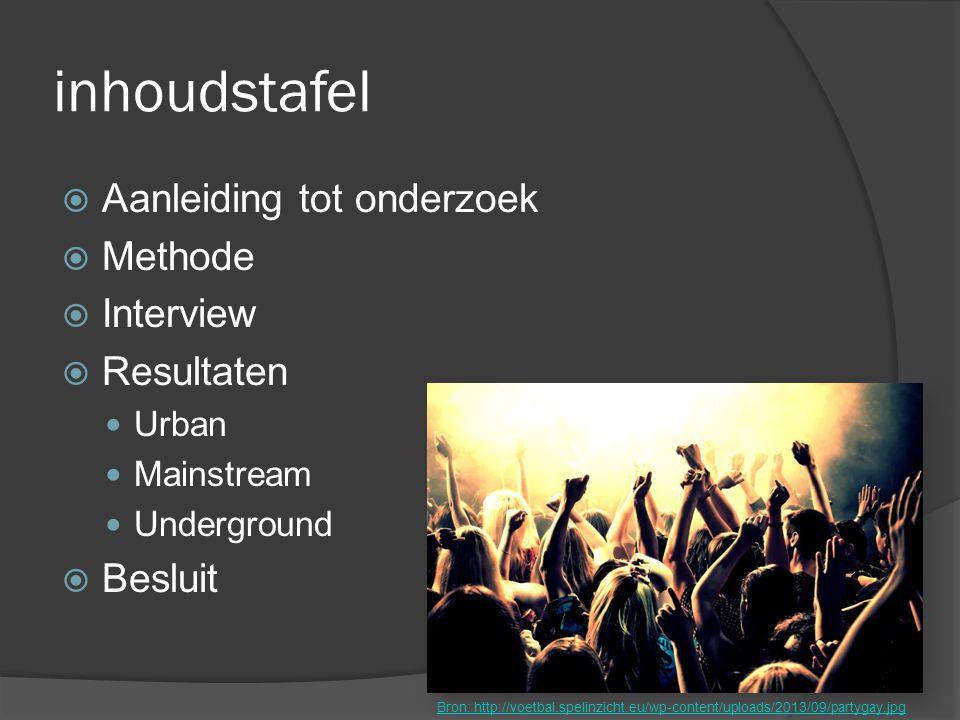 inhoudstafel  Aanleiding tot onderzoek  Methode  Interview  Resultaten Urban Mainstream Underground  Besluit Bron: http://voetbal.spelinzicht.eu/