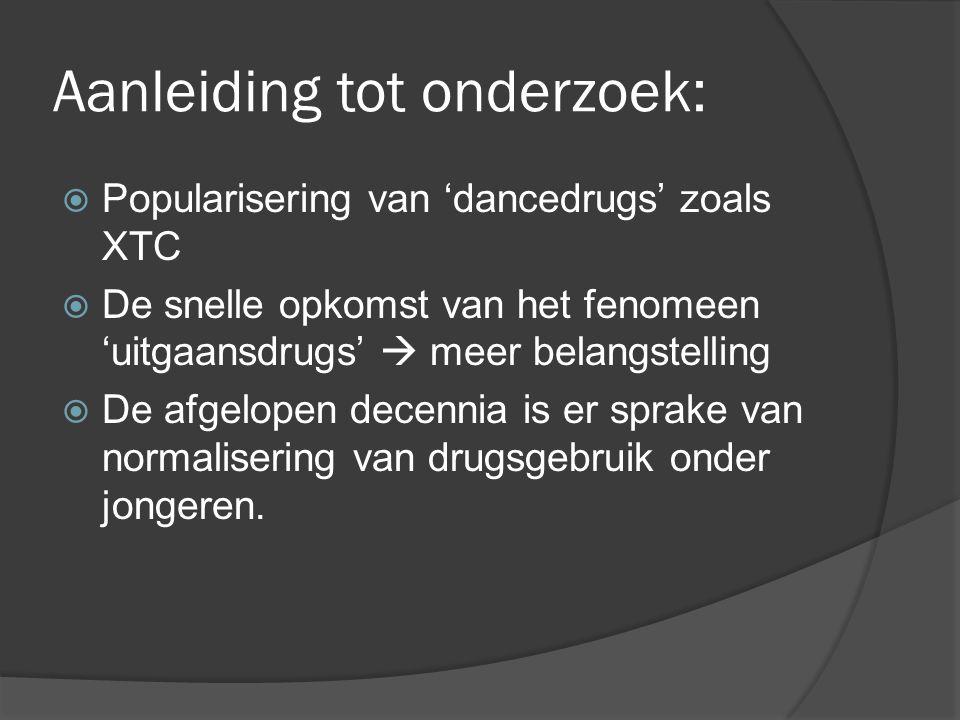 Aanleiding tot onderzoek:  Popularisering van 'dancedrugs' zoals XTC  De snelle opkomst van het fenomeen 'uitgaansdrugs'  meer belangstelling  De