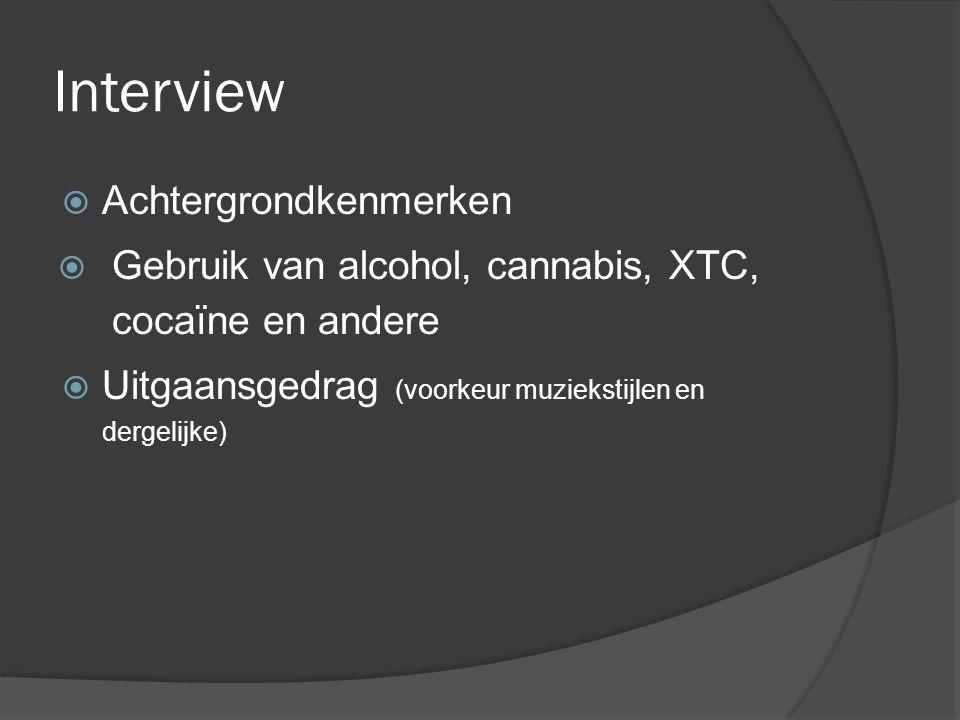 Interview  Achtergrondkenmerken  Gebruik van alcohol, cannabis, XTC, cocaïne en andere  Uitgaansgedrag (voorkeur muziekstijlen en dergelijke)