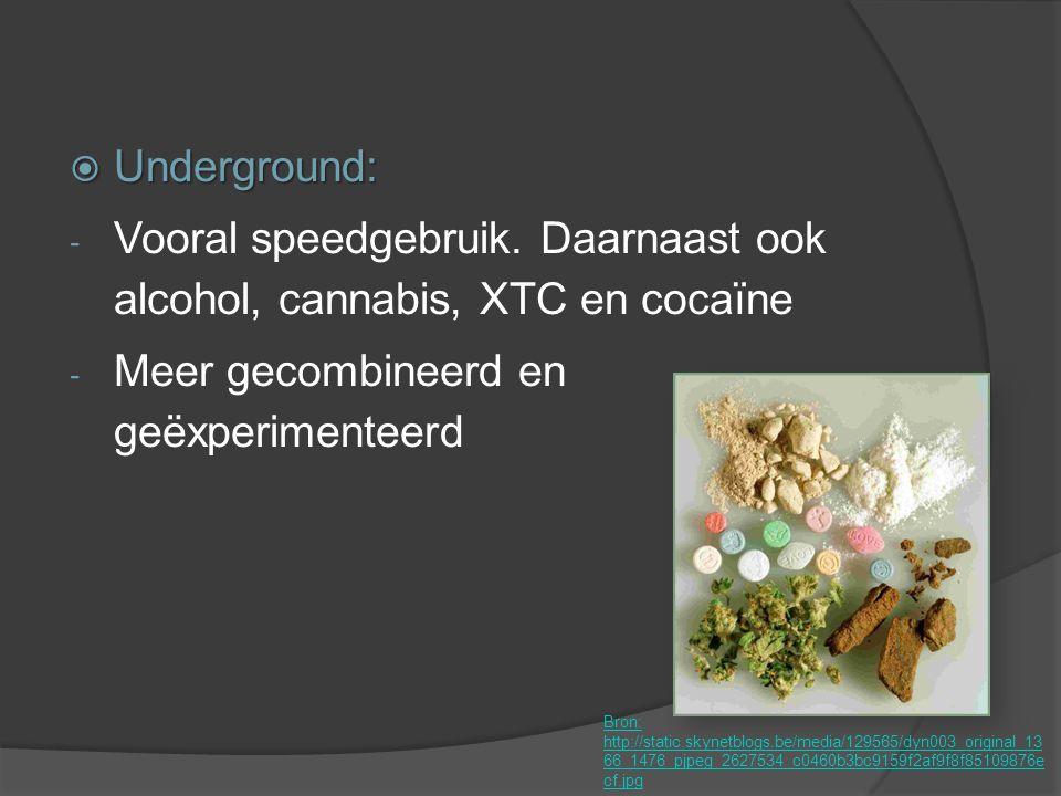  Underground: - Vooral speedgebruik. Daarnaast ook alcohol, cannabis, XTC en cocaïne - Meer gecombineerd en geëxperimenteerd Bron: http://static.skyn