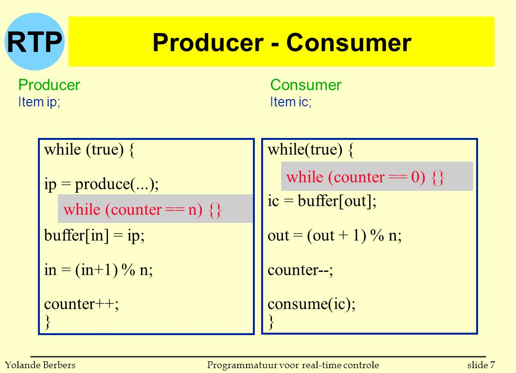 RTP slide 7Programmatuur voor real-time controleYolande Berbers while(true) { ic = buffer[out]; out = (out + 1) % n; counter--; consume(ic); } Producer - Consumer Producer Item ip; Consumer Item ic; while (counter == n) {} while (counter == 0) {} while (true) { ip = produce(...); buffer[in] = ip; in = (in+1) % n; counter++; }