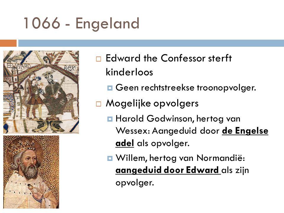 1066 - Engeland  Edward the Confessor sterft kinderloos  Geen rechtstreekse troonopvolger.