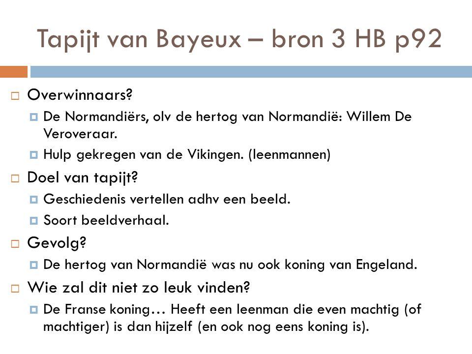 Tapijt van Bayeux – bron 3 HB p92  Overwinnaars.
