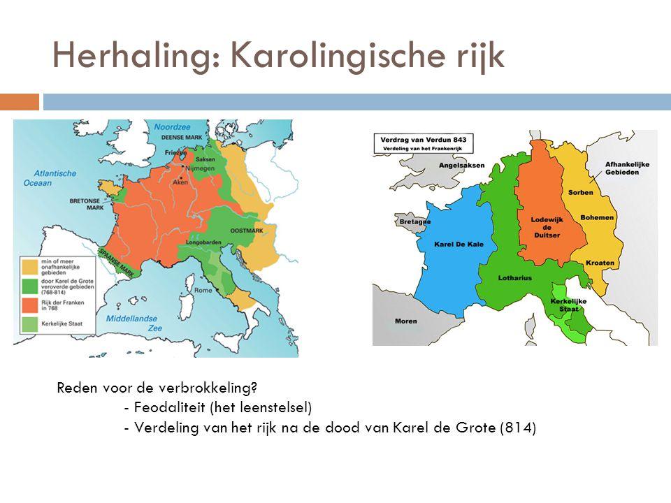 Herhaling: Karolingische rijk Reden voor de verbrokkeling.