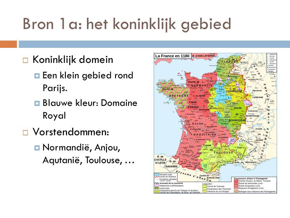 Bron 1a: het koninklijk gebied  Koninklijk domein  Een klein gebied rond Parijs.