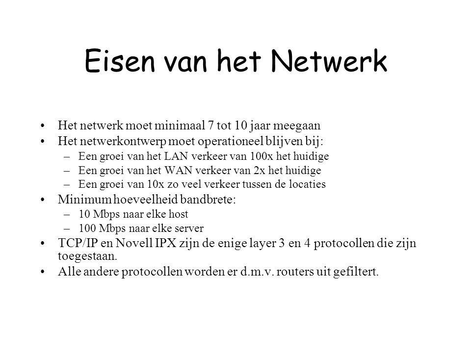 Eisen van het Netwerk Het netwerk moet minimaal 7 tot 10 jaar meegaan Het netwerkontwerp moet operationeel blijven bij: –Een groei van het LAN verkeer van 100x het huidige –Een groei van het WAN verkeer van 2x het huidige –Een groei van 10x zo veel verkeer tussen de locaties Minimum hoeveelheid bandbrete: –10 Mbps naar elke host –100 Mbps naar elke server TCP/IP en Novell IPX zijn de enige layer 3 en 4 protocollen die zijn toegestaan.