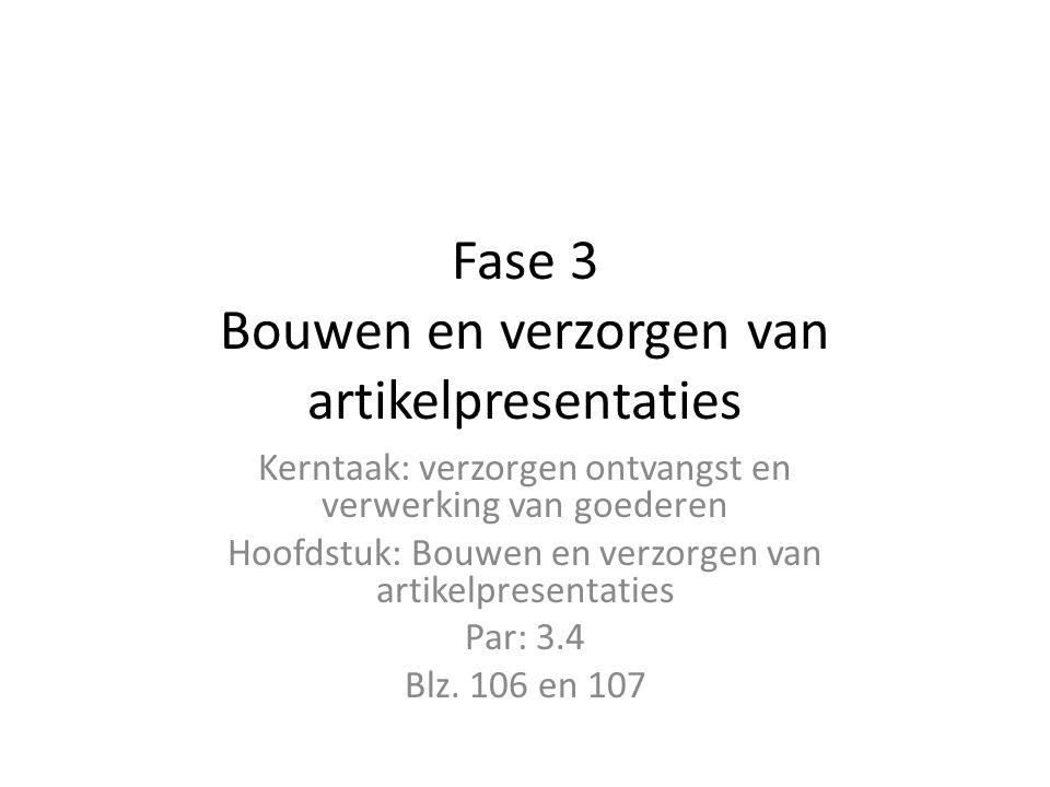 Fase 3 Bouwen en verzorgen van artikelpresentaties Kerntaak: verzorgen ontvangst en verwerking van goederen Hoofdstuk: Bouwen en verzorgen van artikel