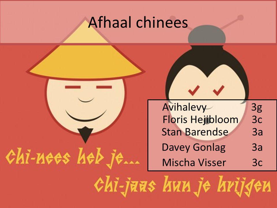 Afhaal chinees Avihalevy 3g Floris Hejibloom 3c Stan Barendse 3a Davey Gonlag 3a Mischa Visser 3c
