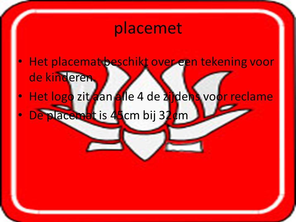 placemet Het placemat beschikt over een tekening voor de kinderen.