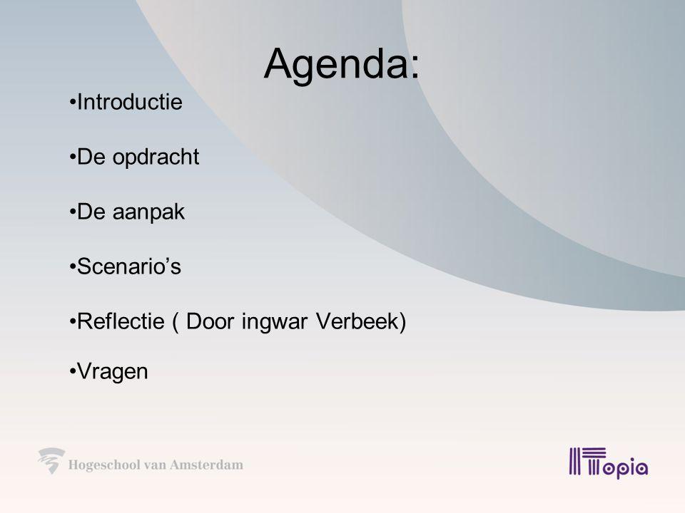 Agenda: Introductie De opdracht De aanpak Scenario's Reflectie ( Door ingwar Verbeek) Vragen