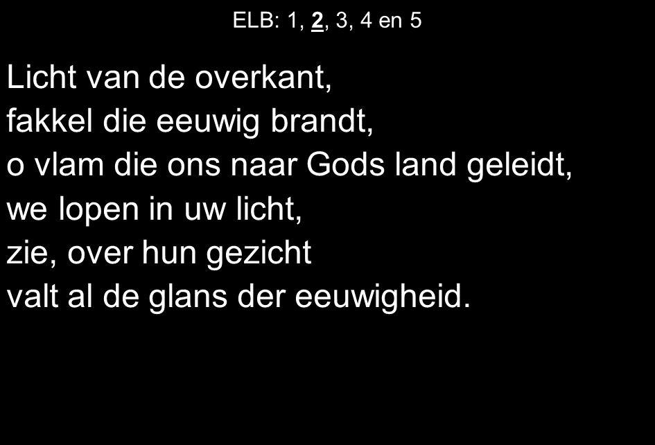 ELB: 1, 2, 3, 4 en 5 Licht van de overkant, fakkel die eeuwig brandt, o vlam die ons naar Gods land geleidt, we lopen in uw licht, zie, over hun gezic