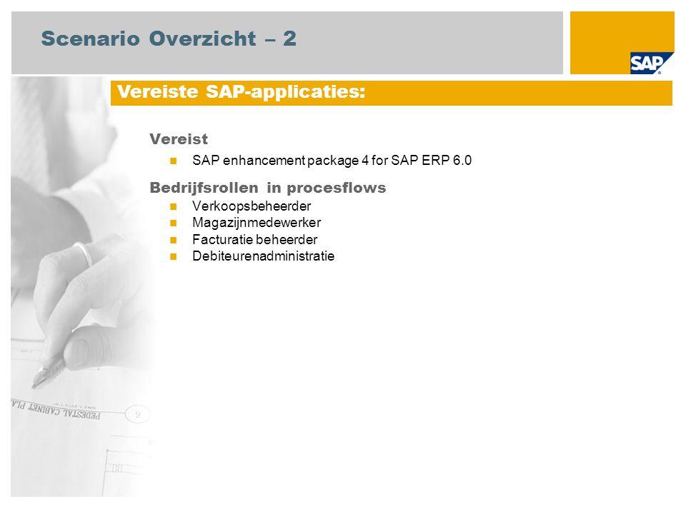 Vereist SAP enhancement package 4 for SAP ERP 6.0 Bedrijfsrollen in procesflows Verkoopsbeheerder Magazijnmedewerker Facturatie beheerder Debiteurenad
