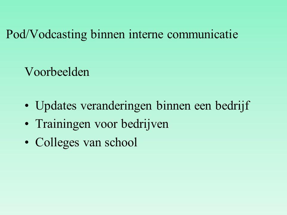 Voorbeelden Updates veranderingen binnen een bedrijf Trainingen voor bedrijven Colleges van school Pod/Vodcasting binnen interne communicatie