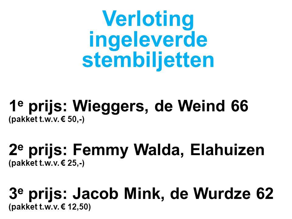 1 e prijs: Wieggers, de Weind 66 (pakket t.w.v.