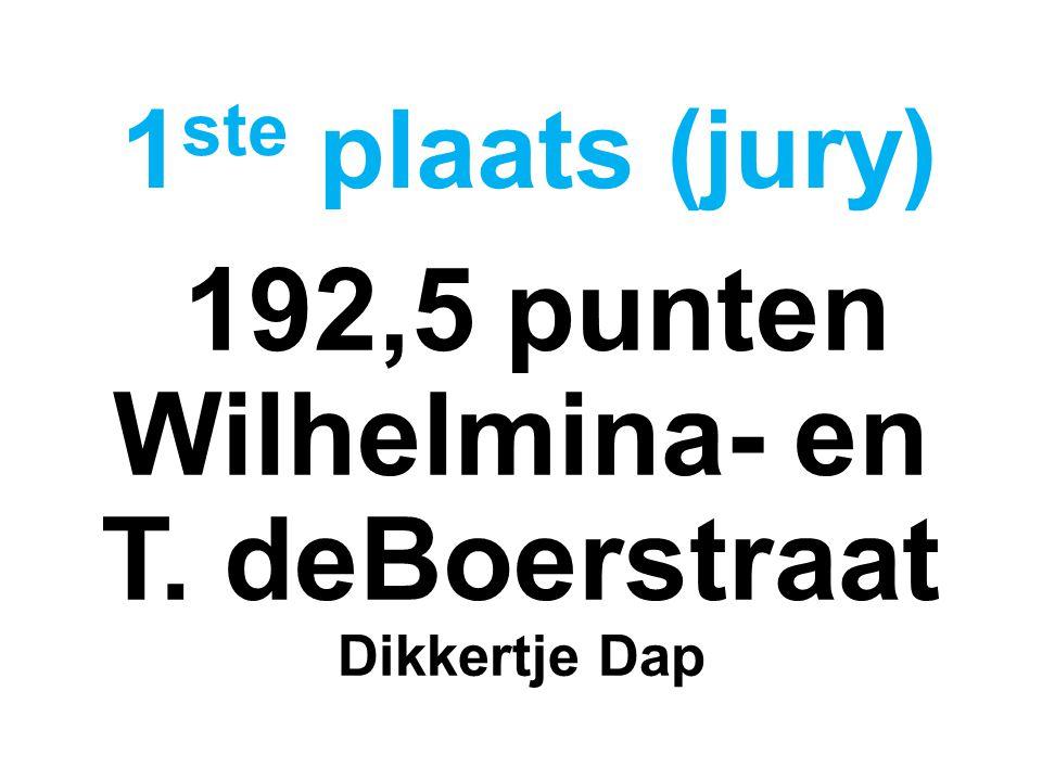 192,5 punten Wilhelmina- en T. deBoerstraat Dikkertje Dap 1 ste plaats (jury)