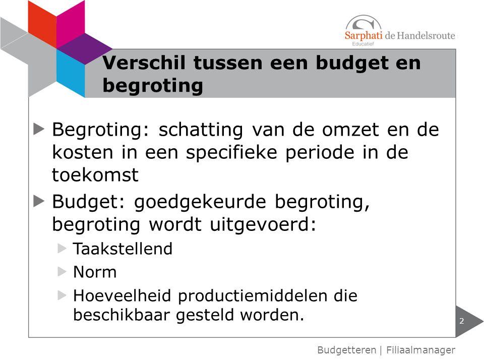 Begroting: schatting van de omzet en de kosten in een specifieke periode in de toekomst Budget: goedgekeurde begroting, begroting wordt uitgevoerd: Taakstellend Norm Hoeveelheid productiemiddelen die beschikbaar gesteld worden.