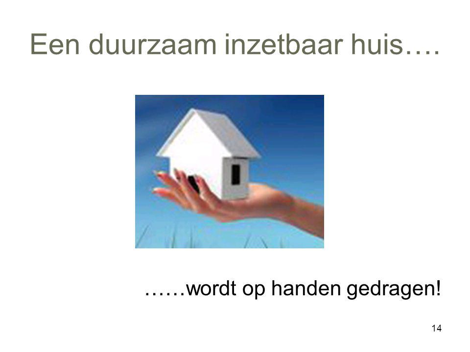 14 Een duurzaam inzetbaar huis…. ……wordt op handen gedragen!