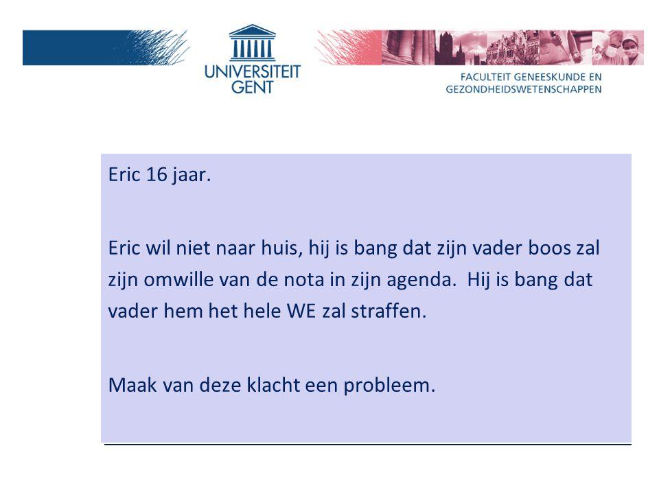 Eric 16 jaar. Eric wil niet naar huis, hij is bang dat zijn vader boos zal zijn omwille van de nota in zijn agenda. Hij is bang dat vader hem het hele