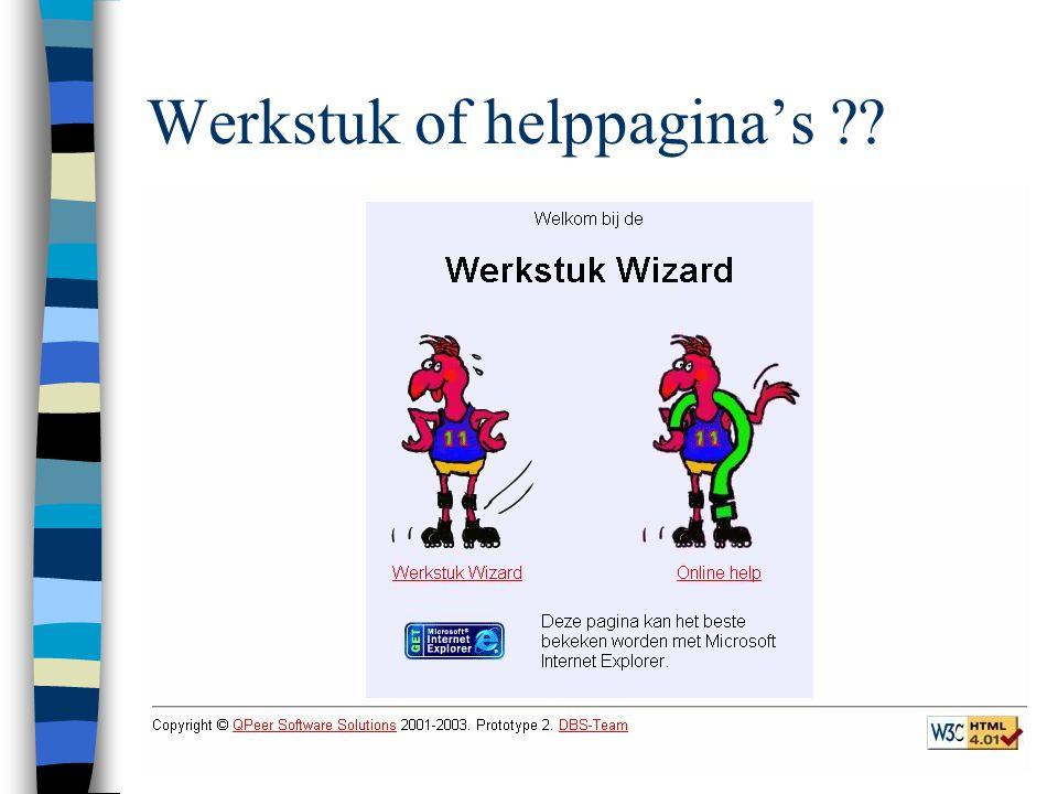 Werkstuk of helppagina's ??