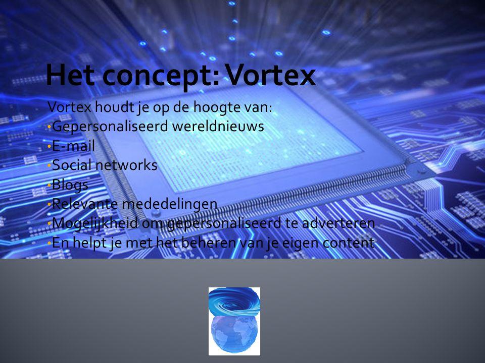 Vortex houdt je op de hoogte van: Gepersonaliseerd wereldnieuws E-mail Social networks Blogs Relevante mededelingen Mogelijkheid om gepersonaliseerd te adverteren En helpt je met het beheren van je eigen content