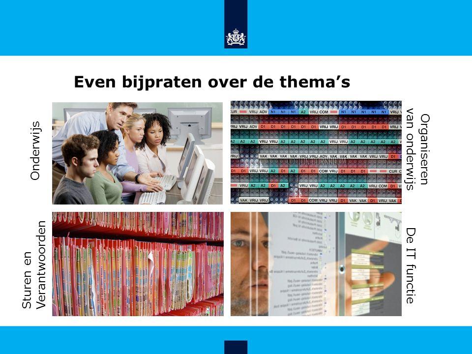 Even bijpraten over de thema's Onderwijs Organiseren van onderwijs Sturen en Verantwoorden De IT functie