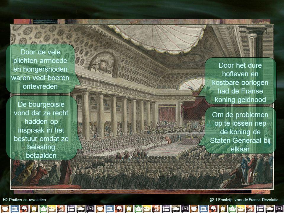 H2 Pruiken en revoluties§2.1 Frankrijk voor de Franse Revolutie Door de vele plichten armoede en hongersnoden waren veel boeren ontevreden De bourgeoi