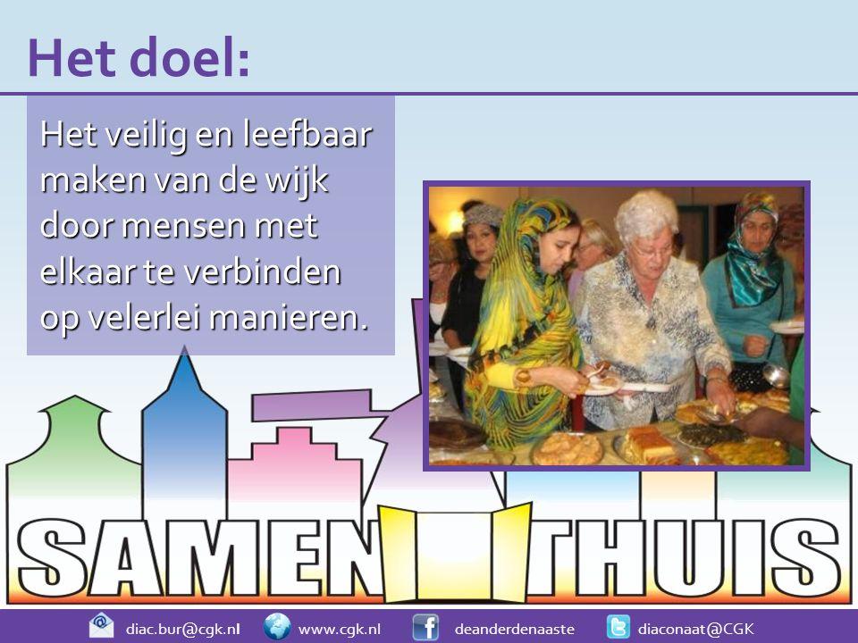diac.bur@cgk.nl www.cgk.nl deanderdenaaste diaconaat@CGK Het veilig en leefbaar maken van de wijk door mensen met elkaar te verbinden op velerlei manieren.