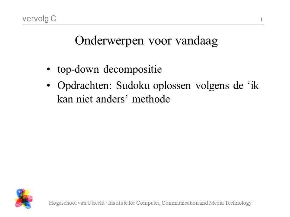 vervolg C Hogeschool van Utrecht / Institute for Computer, Communication and Media Technology 12 Decompositie : staatOp int staatOp( char s[], int n, char x[] ){ int i; for( i = 0; i < strlen( x ); i ++ ){ if( x[ i ] != s[ n + i ] ){ return 0; } return 1; }