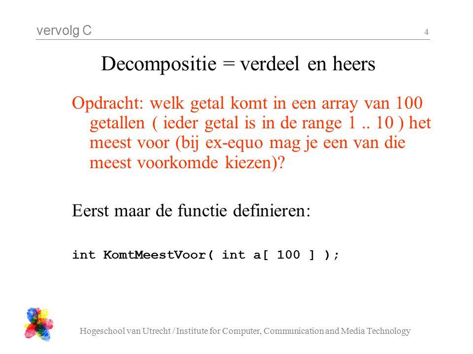vervolg C Hogeschool van Utrecht / Institute for Computer, Communication and Media Technology 4 Decompositie = verdeel en heers Opdracht: welk getal komt in een array van 100 getallen ( ieder getal is in de range 1..
