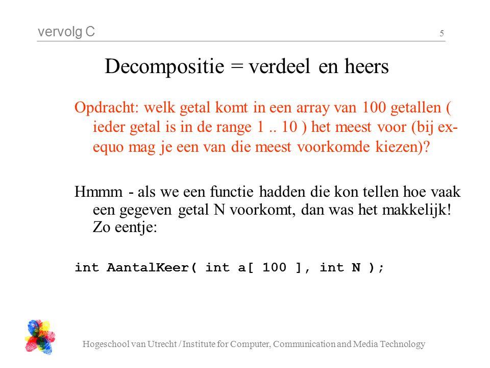 vervolg C Hogeschool van Utrecht / Institute for Computer, Communication and Media Technology 5 Decompositie = verdeel en heers Opdracht: welk getal komt in een array van 100 getallen ( ieder getal is in de range 1..