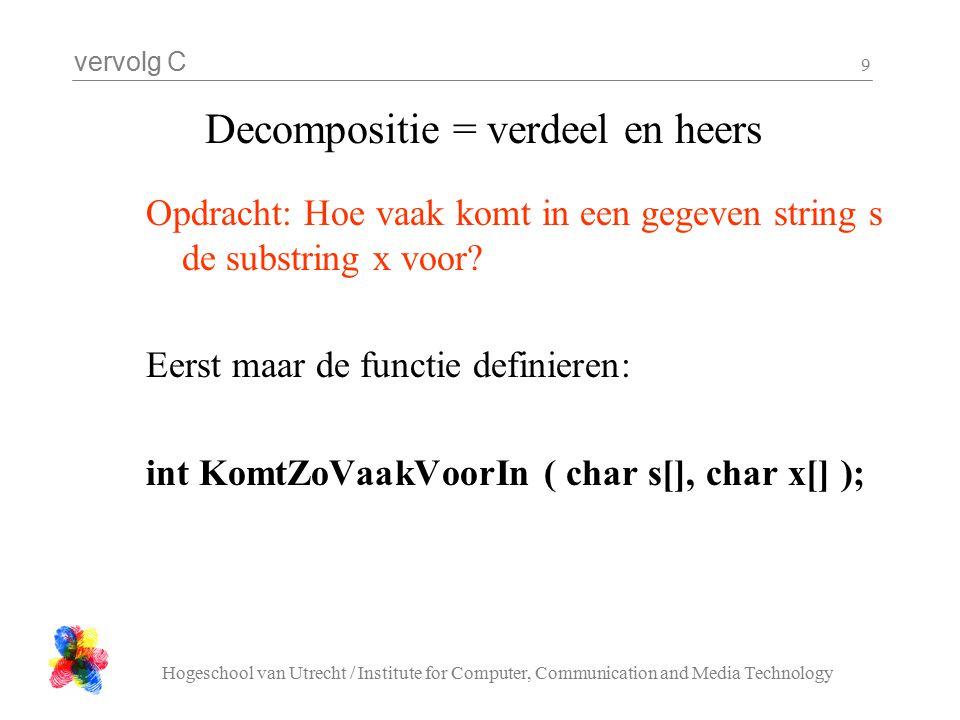 vervolg C Hogeschool van Utrecht / Institute for Computer, Communication and Media Technology 10 Decompositie = verdeel en heers Het is misschien handig om te weten hoe lang een string is: int strlen( char s[] ); Het is vast ook handig om 'in 1 keer' te weten of op een gegeven positie in een string s de string x staat: int staatOp( char s[], int n, char x[] );