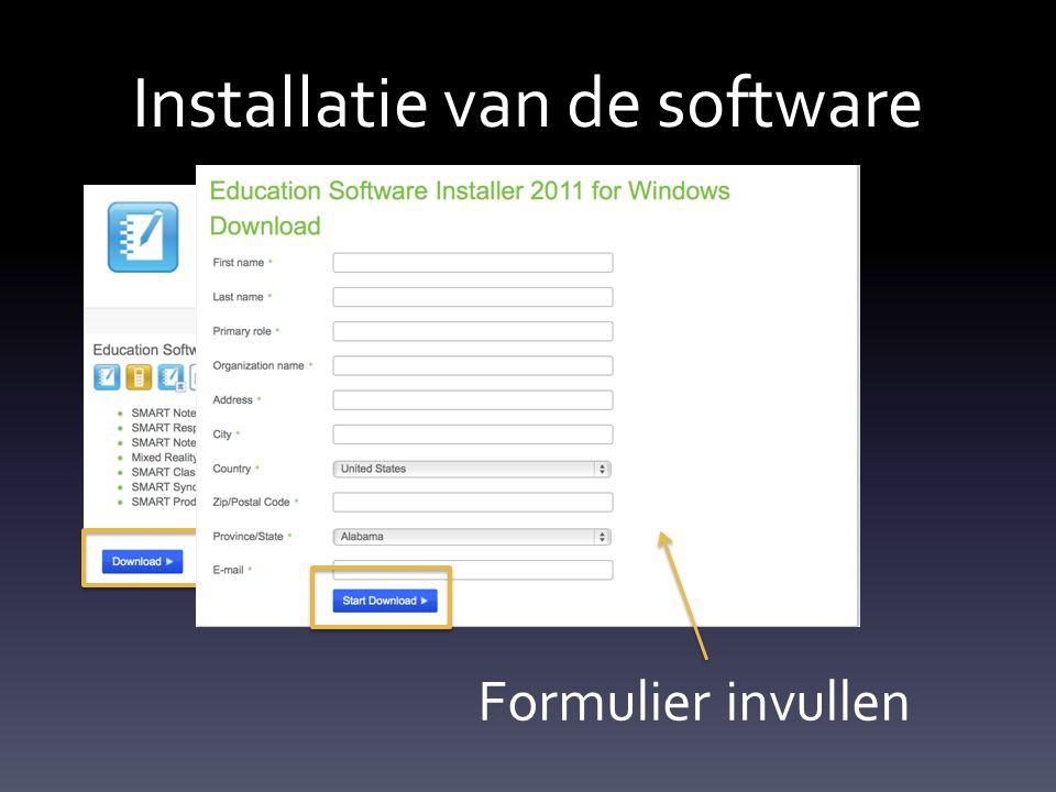 Installatie van de software Formulier invullen