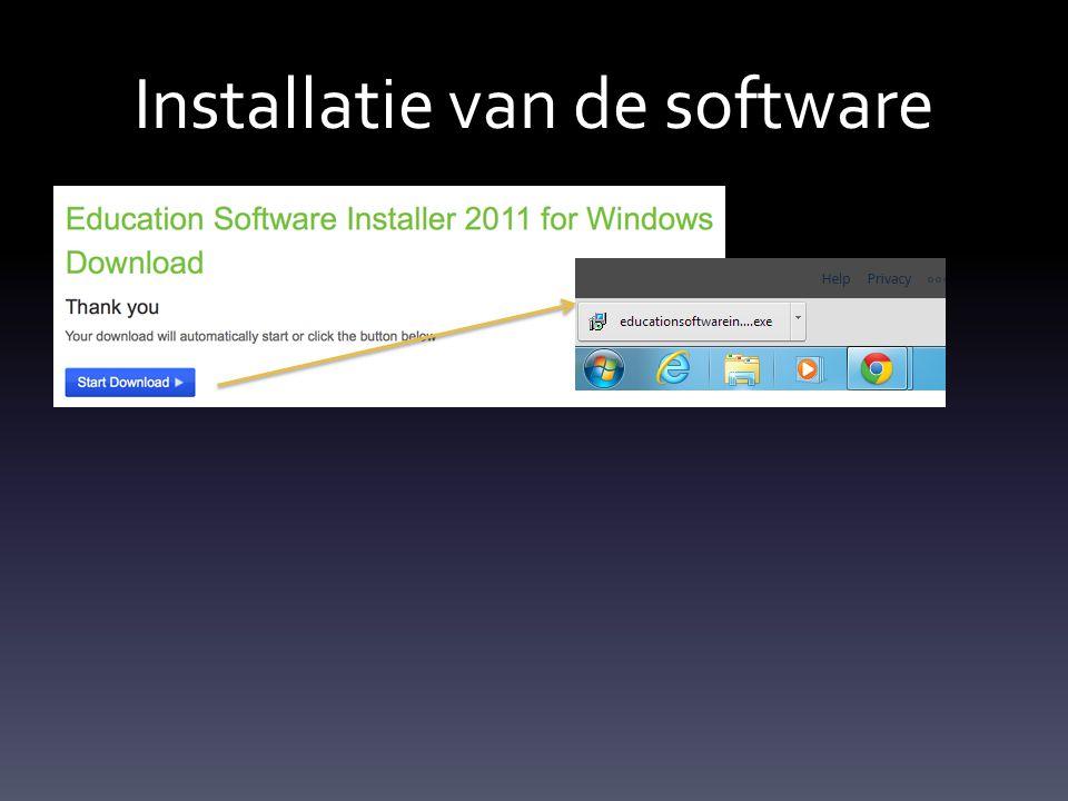 Installatie van de software
