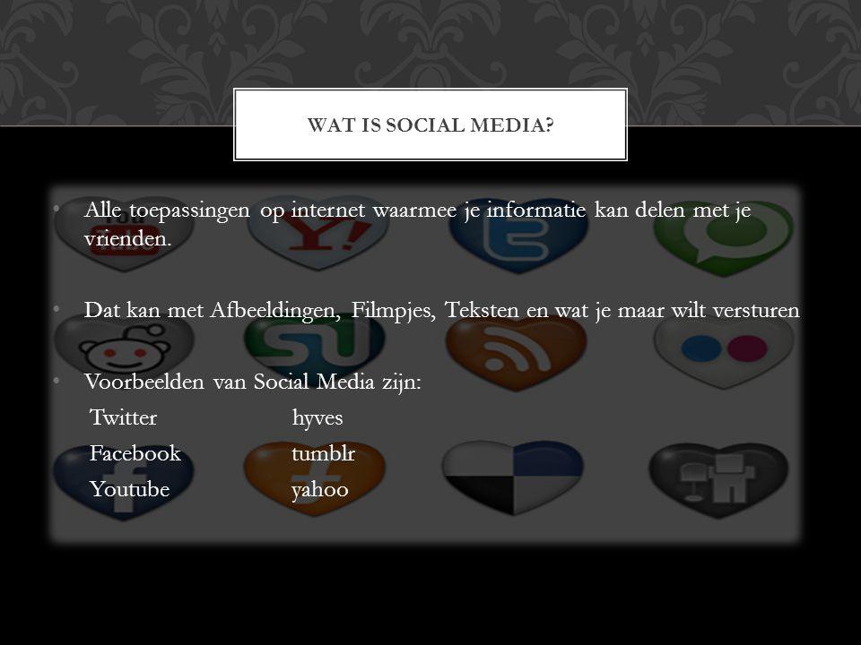 Alle toepassingen op internet waarmee je informatie kan delen met je vrienden. Dat kan met Afbeeldingen, Filmpjes, Teksten en wat je maar wilt verstur