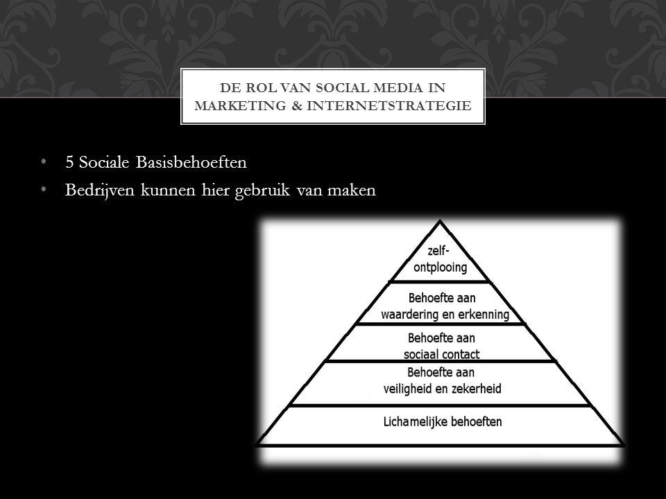 5 Sociale Basisbehoeften Bedrijven kunnen hier gebruik van maken DE ROL VAN SOCIAL MEDIA IN MARKETING & INTERNETSTRATEGIE