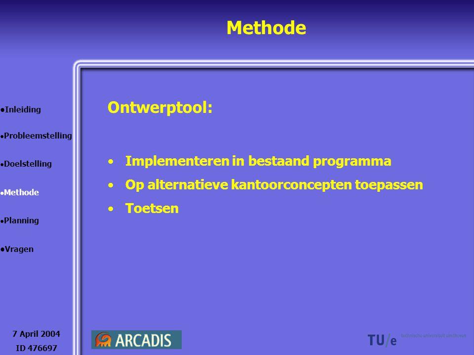 Methode 7 April 2004 ID 476697 Inleiding Probleemstelling Doelstelling Methode Planning Vragen Ontwerptool: Implementeren in bestaand programma Op alt