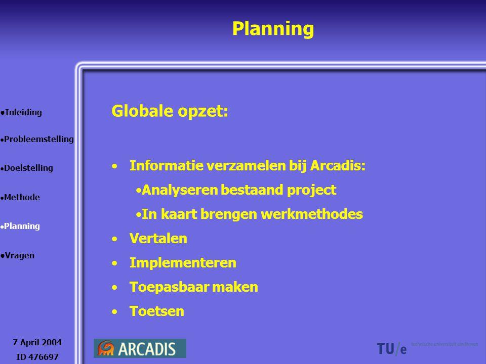 Planning 7 April 2004 ID 476697 Inleiding Probleemstelling Doelstelling Methode Planning Vragen Globale opzet: Informatie verzamelen bij Arcadis: Anal