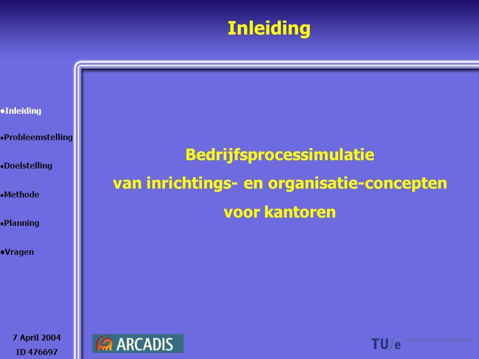 Inleiding Bedrijfsprocessimulatie van inrichtings- en organisatie-concepten voor kantoren 7 April 2004 ID 476697 Inleiding Probleemstelling Doelstelli