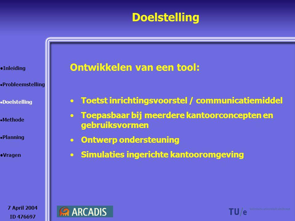 Doelstelling Arcadis: Financieel Presentatie naar cliënt Mogelijkheden in de toekomst 7 April 2004 ID 476697 Inleiding Probleemstelling Doelstelling Methode Planning Vragen