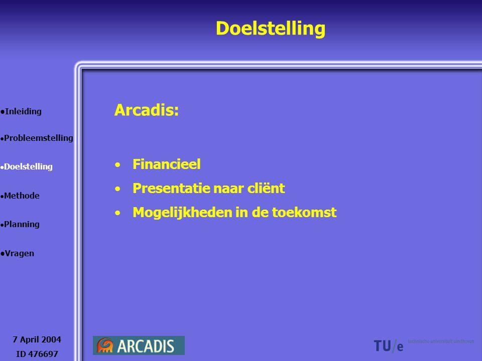 Doelstelling Arcadis: Financieel Presentatie naar cliënt Mogelijkheden in de toekomst 7 April 2004 ID 476697 Inleiding Probleemstelling Doelstelling M