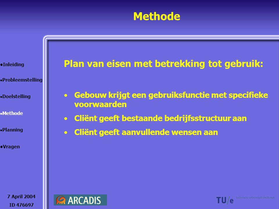 Methode 7 April 2004 ID 476697 Inleiding Probleemstelling Doelstelling Methode Planning Vragen Plan van eisen met betrekking tot gebruik: Gebouw krijg